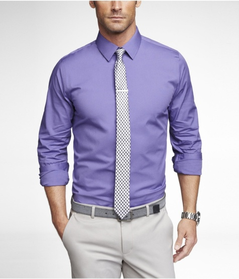 Purple Dress Shirt Black And White Tie Light Grey Pant Gray Belt